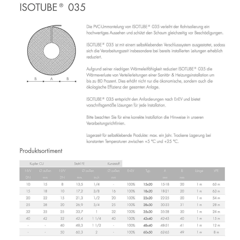 15m PUR Rohrisolierung Isolierung Rohrschale 40//42 100/%
