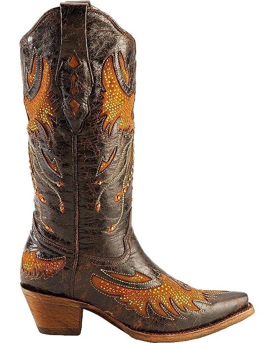 145ceb7aa33 CORRAL Women's Distressed Black Eagle Inlay Orange Rhinestone Snip Toe  Cowgirl Boots A2632