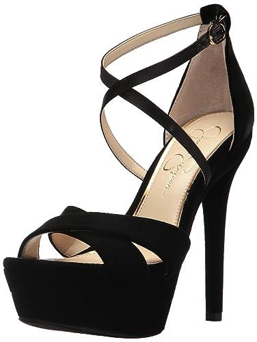 9f0dddd61da8 Jessica Simpson Women s ROXELLE Heeled Sandal Black Velvet 8 Medium US