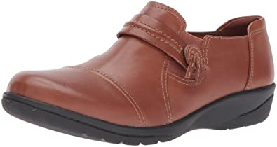 CLARKS Women's Cheyn Madi Slip-on Loafer, Dark Tan Leather, ...