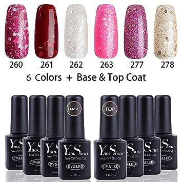 Amazon.com : Yaoshun Glitter Soak Off UV Led Gel Nail Polish Base ...