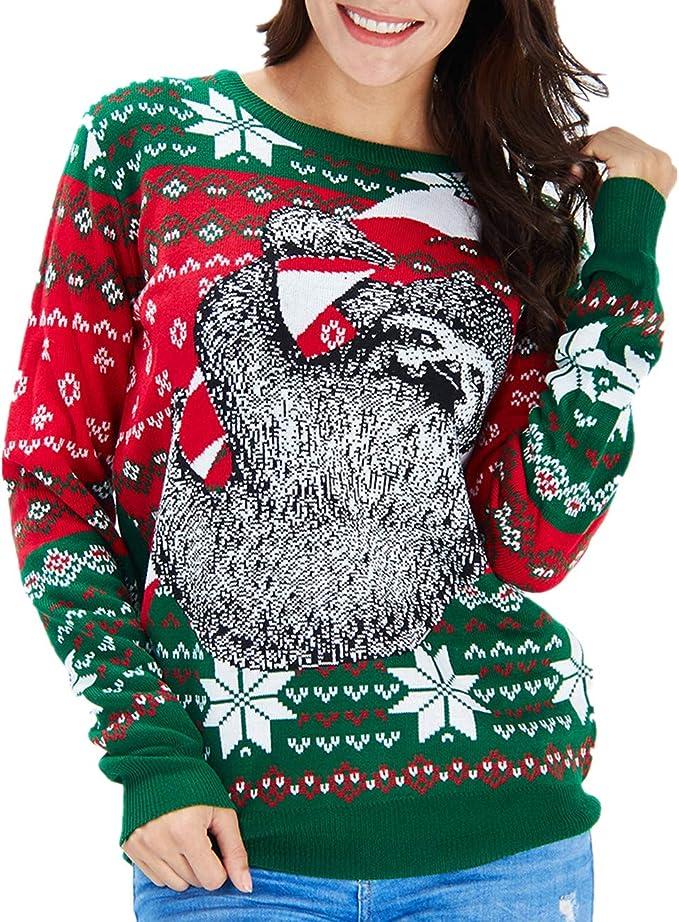 Idgreatim Women Men Ugly Christmas Sweaters Funny Sloth Pullover Ugly Christmas Sweaters for Party