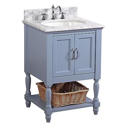 Beverly 24 Inch Bathroom Vanity Carrara Powder Blue