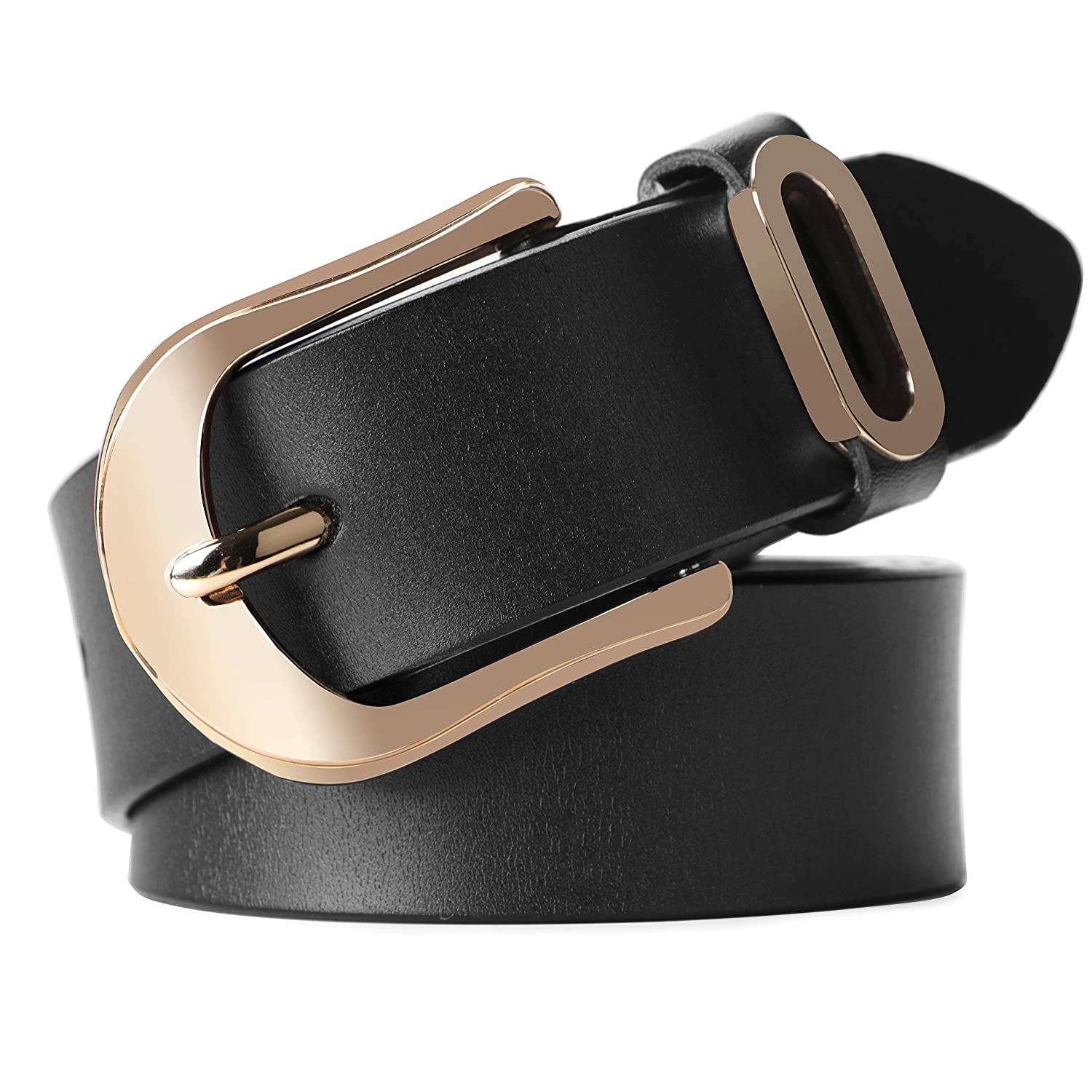 Whippy Women Casual Leather Belt for Jeans, 1.2 Inch Wide with Golden Buckle,Black JGO28