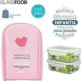 Pack Mochila Térmica Infantil Mr. Wonderful y 2 Taper Glasslock de Vidrio Hermeticos de 0.4L, Medidas 17 x 24 x 12 cm, Modelo Rosa