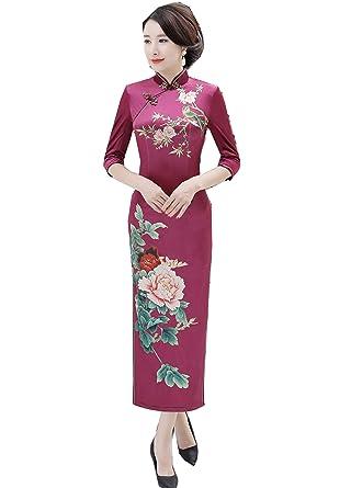 70004f5fb22c9 (上海物語)Shanghai Story ベルベット チーパオ ロング丈 チャイナドレス レディース 民族衣装 ワンピース