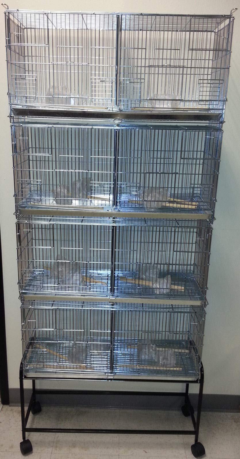 COMBO: Stack and Lock Double Breeder Cage Bird Breeding Cage With Removable Divider And Breeder Doors 4 Of 26.5'' x 11'' x 15''H Cages *Galvanized* And One Stand Black by Mcage