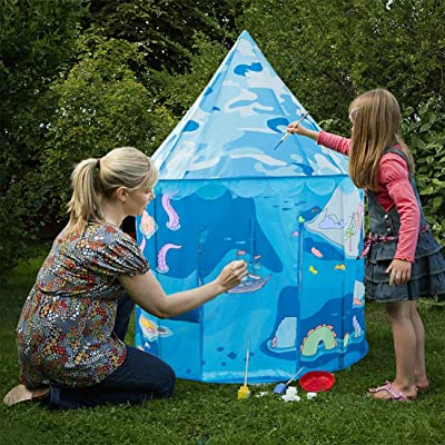 Anyshock Kids Play Tent, DIY Coloring Outdoor Indoor Playhouse Foldable Pop Up Castle Toys for 1-8 Years Old Kids Boy Girls Toddler Infant with DIY Watercolor Pens (Blue): Toys & Games