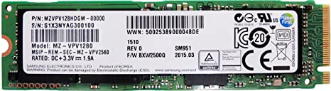 Samsung SM951 128GB M.2 NGFF PCIe Gen3 8Gb/s x4 Solid state drive SSD (2280), NVME ( MZVPV128HDGM-00000) Internal Solid State Drives at amazon