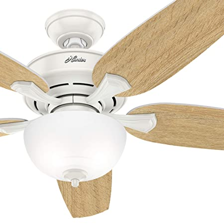 Hunter Fan 54 inch Casual Fresh White Indoor Ceiling Fan with Light Kit Renewed
