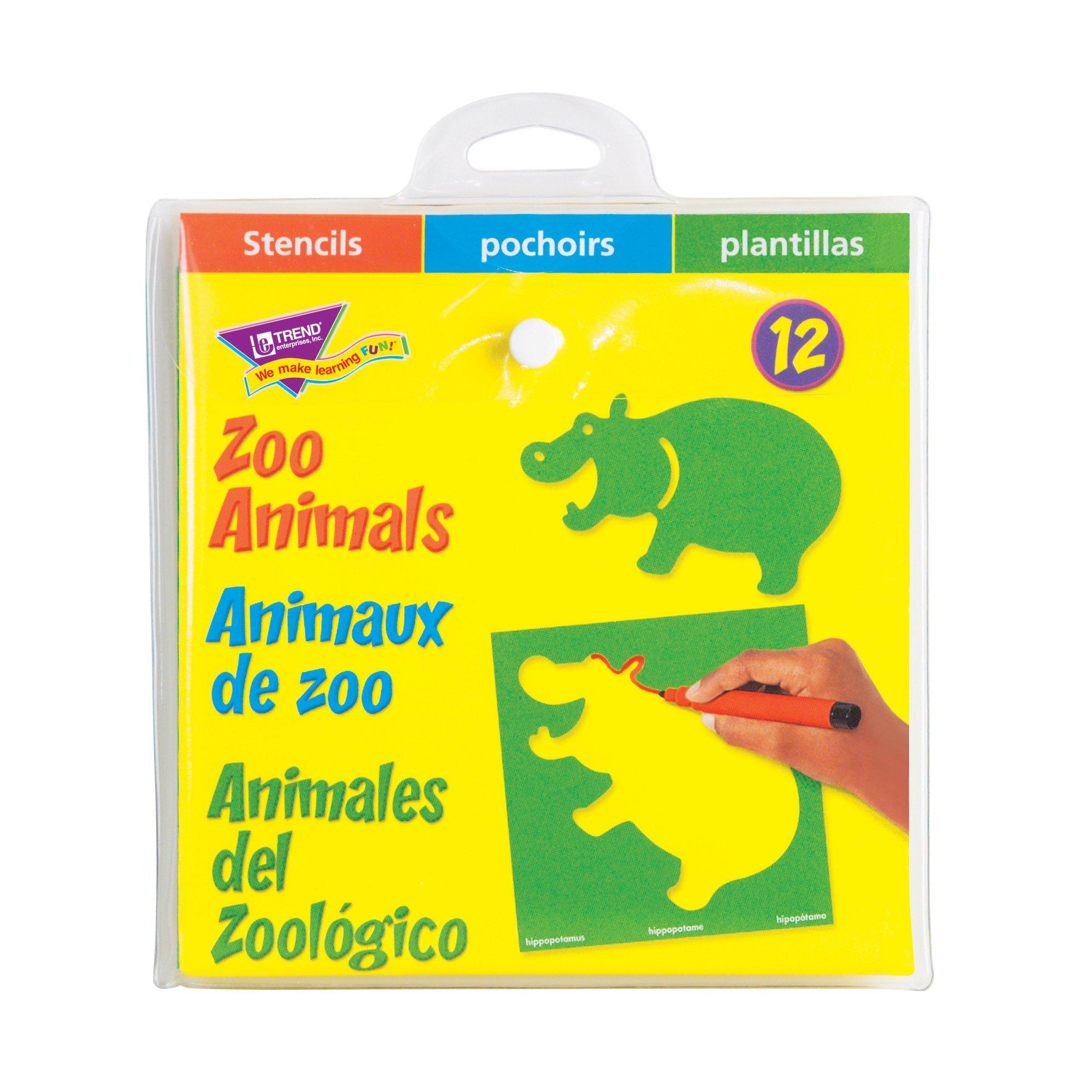 TREND enterprises, Inc. Zoo Animals (EN/SP/FR) Stencils