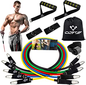 Resistance Bands Set with Handles, Exercise Bands Workout Bands Fitness Bands with Door Anchor, Legs Ankle Straps for Resistance Training,Physical Therapy,Home Gym Workout