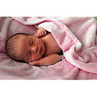 """Higher Comfort Luxuriously Soft Baby Blanket - Playful Pink - 30"""" x 40"""" - Super Soft & Great Gift for Baby Shower"""