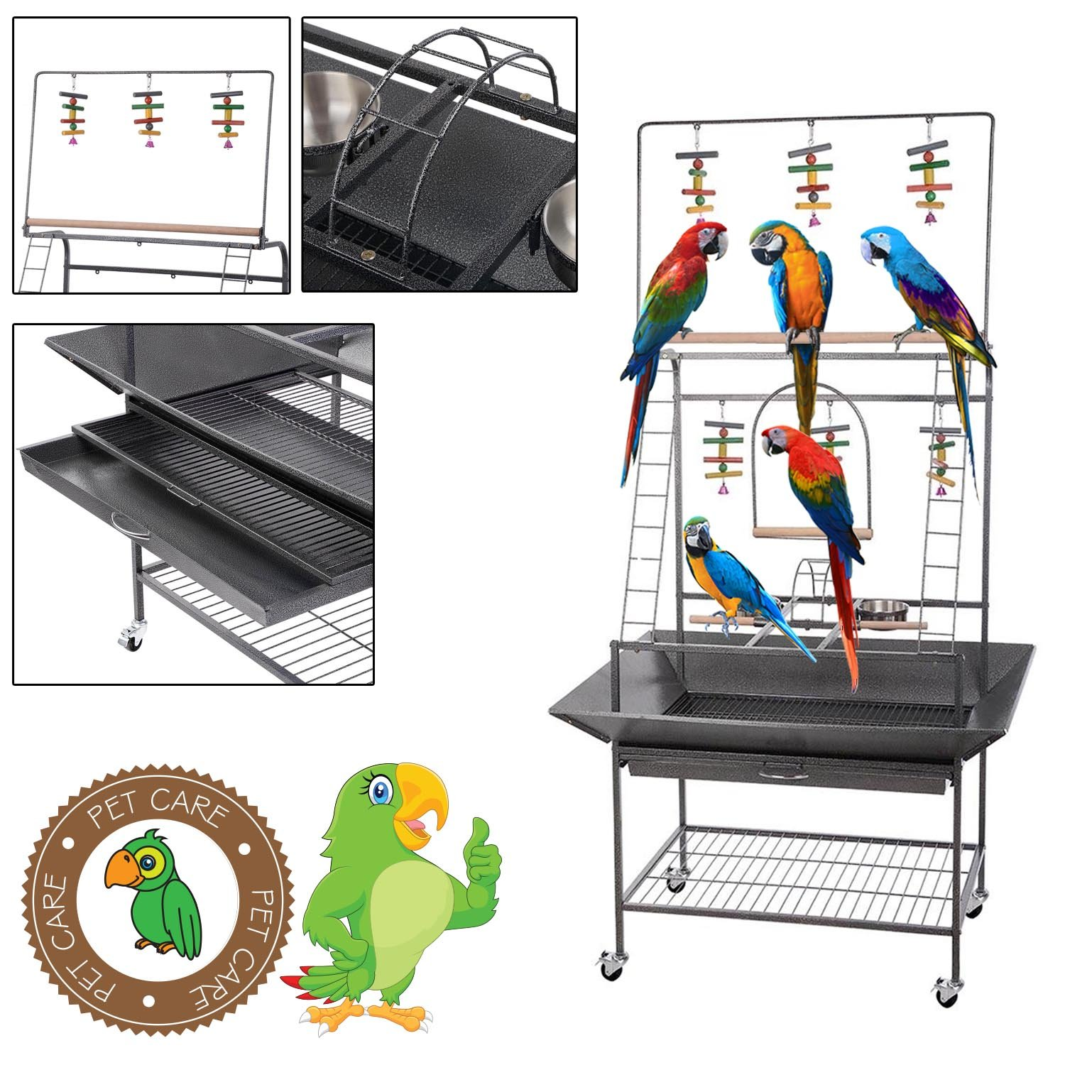 GC Global Direct Pet Parrot Play Stand Bird Cage Gym Perch with Feeding Cups (Black Square)