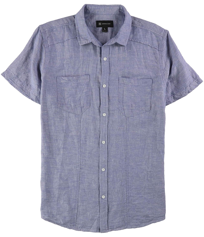 I-N-C Mens Pocket Button Up Shirt