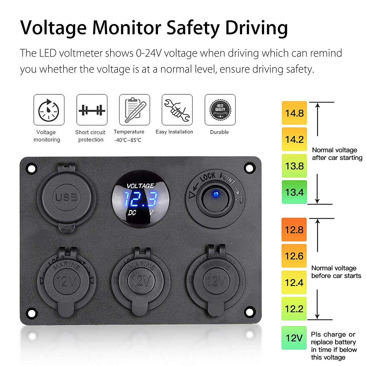 Illuminated Toggle Rocker Switch for RV Truck Marine Boat Trailer Vehicles Yacht SUV Blue LED Voltmeter with 12V Power Outlet EEEKit 6 in 1 Multi-function Waterproof Panel Dual USB Socket Charger
