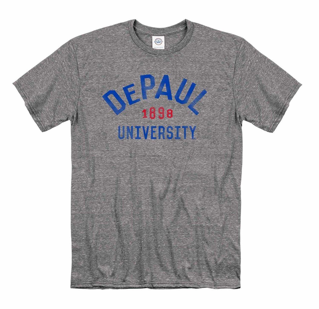 Campus Colors Depaul Blue Demons Adult Arched Basic Heathe T Shirt Sport Gray 2387