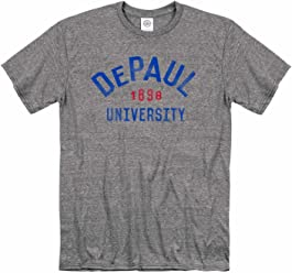 new concept c082c 3bc42 Campus Colors DePaul Blue Demons Adult NCAA Arched Basic Heathered T-Shirt  - Sport Gray