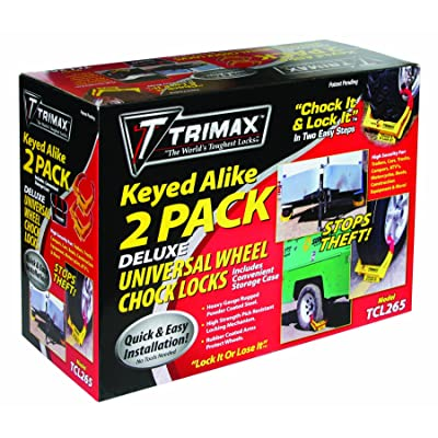 Trimax Deluxe Wheel Chock Lock Keyed Alike 2 Pack-of Tcl65 Includes Carrying Case TCL265, Box Packaging: Automotive