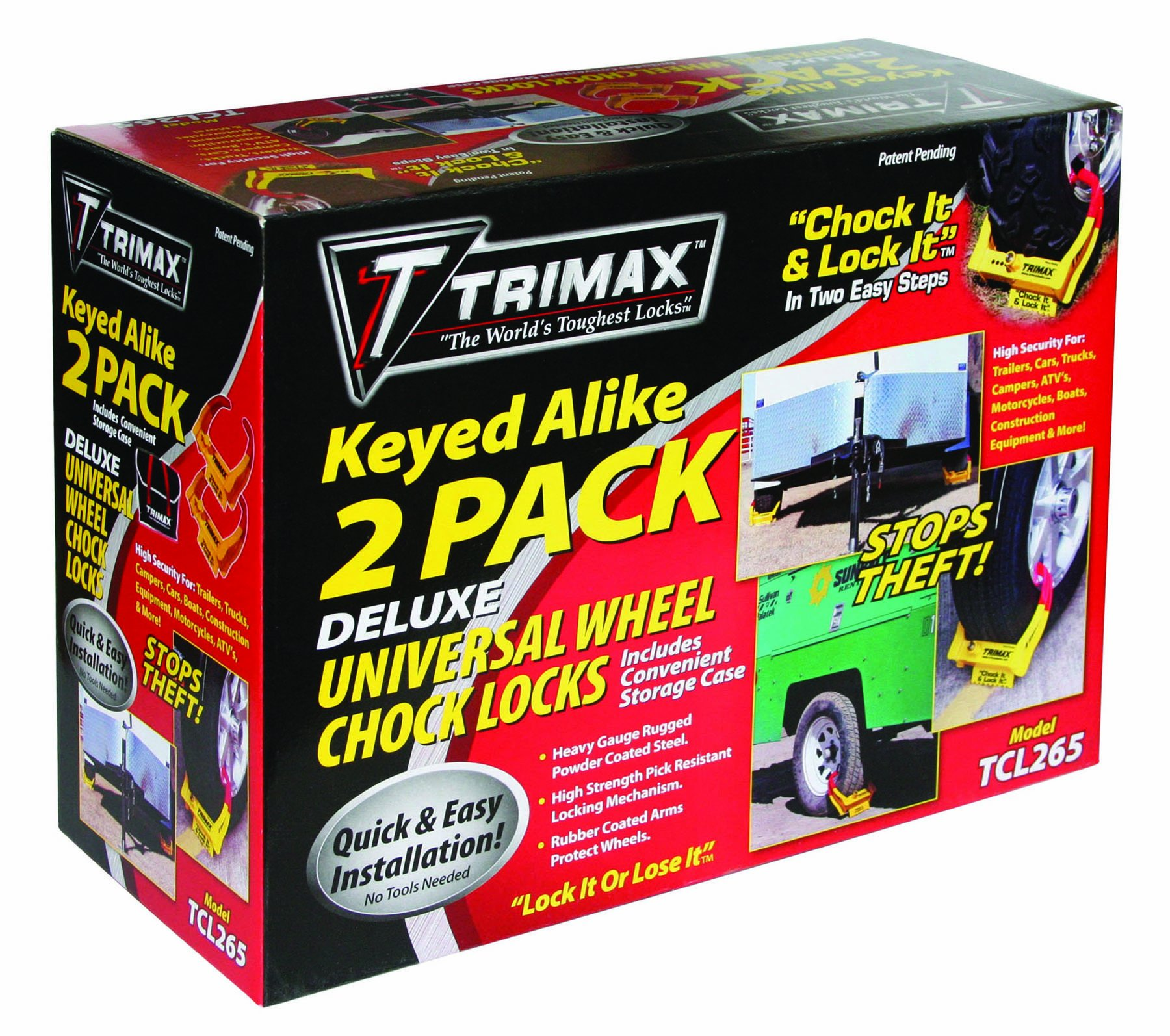 Trimax TCL265 Small Deluxe Keyed Alike Wheel Chock Lock, (Pack of 2) by Trimax (Image #1)