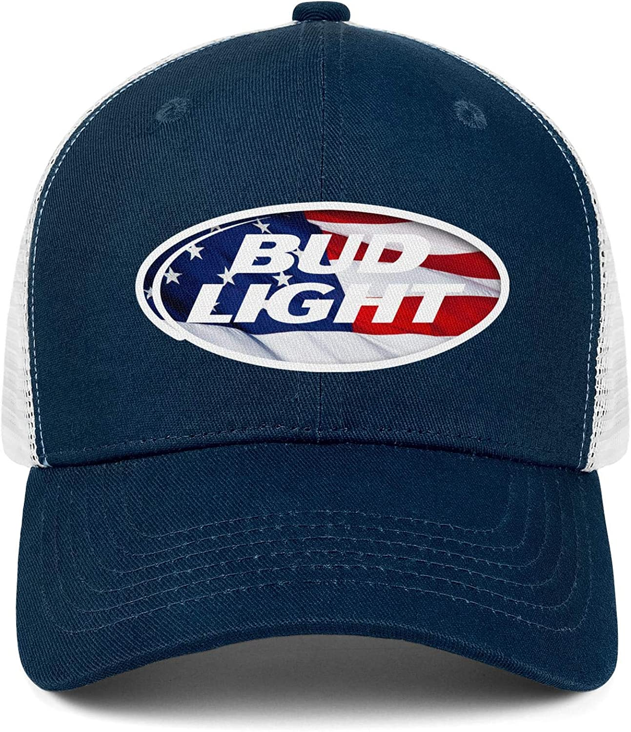 Men Unisex Adjustable Busch-Bud-Light-Beer-United-States-Sterescopic-American-Flag-White-Baseball Cap Outdoor Flat Hats