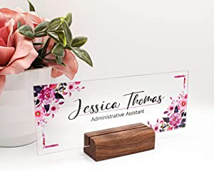 Desk Name Plate Office Supply Personalized Secretary Sign Gift Custom Nurses Teacher Friend Special Wood Rose Floral Flowers (8