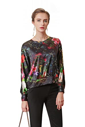 e1681fe59ce972 Image Unavailable. Image not available for. Color  VOA Women s Silk Floral Scoop  Neck Long Sleeve Pullover Blouse Top Pullover B5288