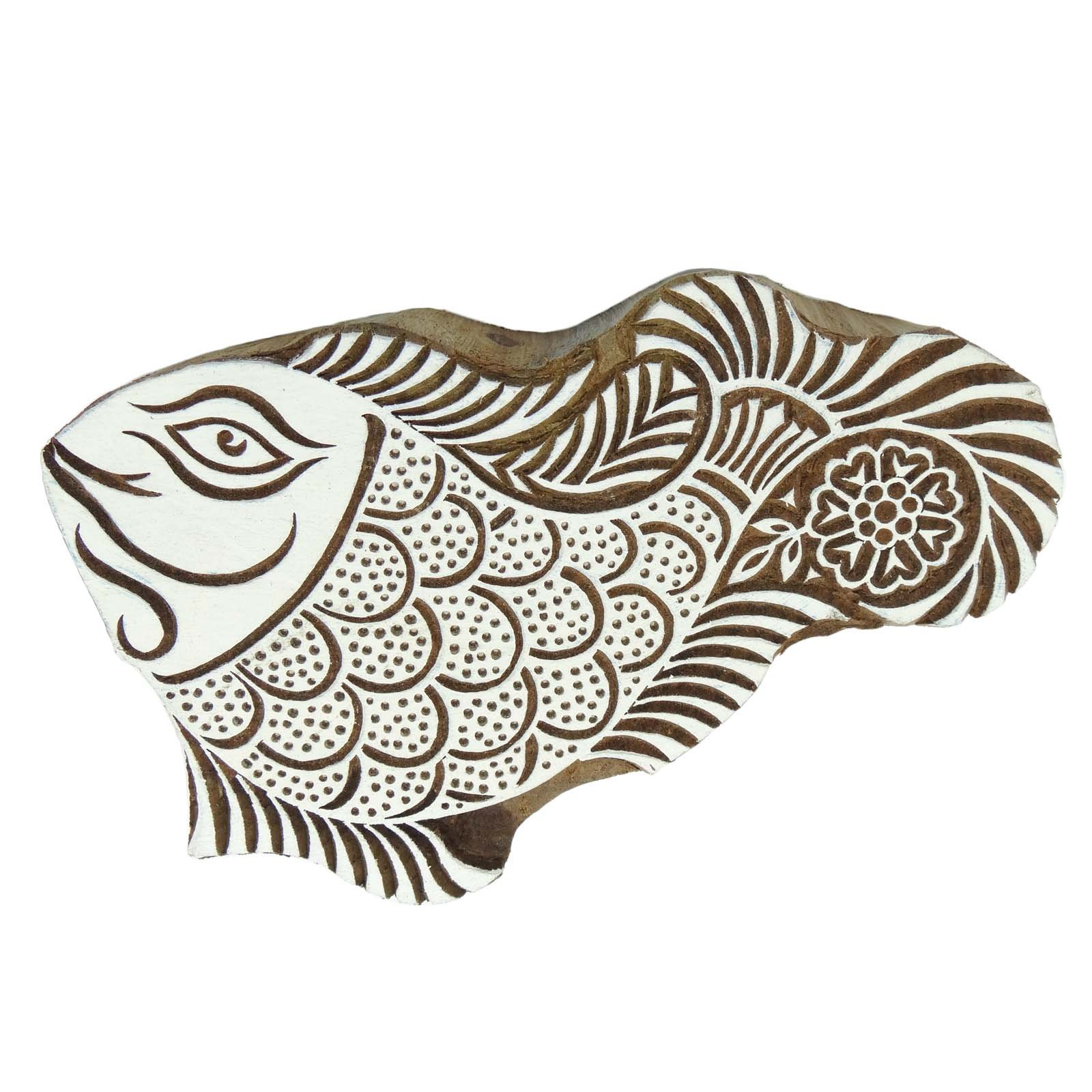 Decorative Fish Wooden Block Carved Textile Stamp Collectible Blocks