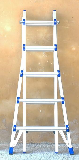 Escalera telescópica de aluminio placa larga y sólido homologada EN131-9230 Trekking: Amazon.es: Bricolaje y herramientas