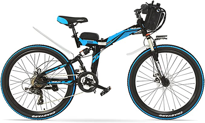 LANG TU 26'' Folding Electric Mountain Bike, 48V 12AH Li-on Battery, 500/240W Motor, Front & Rear Suspension Frame, Both Disc Brake. (Blue Black, 500 Watts with 1 Spare Battery)