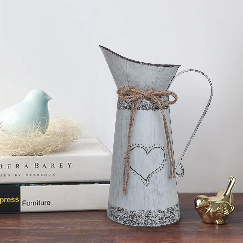 Vase cruche Rustique Primitives avec la Conception en Forme de Coeur et de Corde pour la d/écoration de f/ête de Mariage(Pichet Gris-Bleu) Soyizom Pichet de Lait en m/étal Vintage