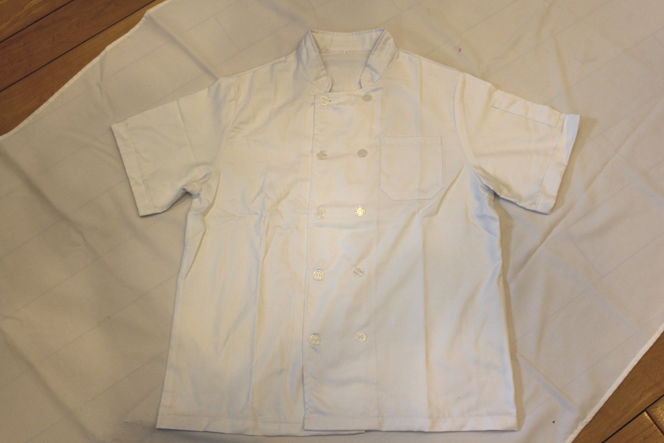 All White Unisex Chef Jacket (Short Sleeves) Size 36, Small