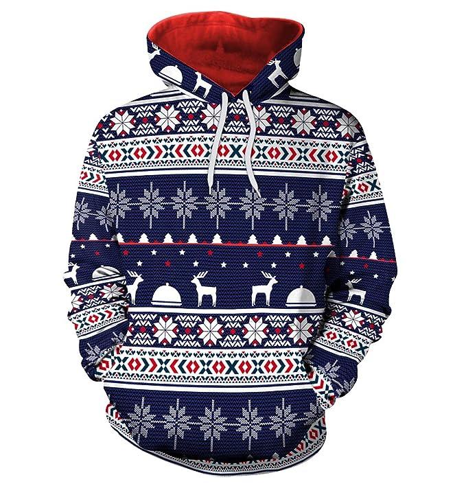 Sudaderas Navideñas con Capucha Hombre Sudadera Navidad Estampadas Jersey Mujer Sueter Navideño Reno Sweaters Pullover Largas Chica Oversize Anchas Deporte ...