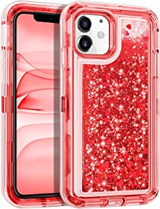 Wollony for iPhone 11 Case Heavy Duty Girly Protective Glitter Liquid Bling Quicksand 3 in 1 Hybrid Impact Resistant Shockproof Hard Bumper Soft Clear Rubber Protective Cover for iPhone 11 6.1inch Red