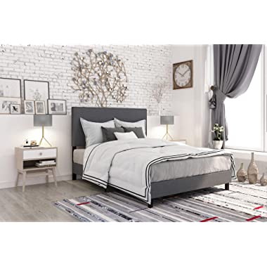 DHP Janford Upholstered Bed with Chic Upholstered Headboard, Grey Linen, Queen
