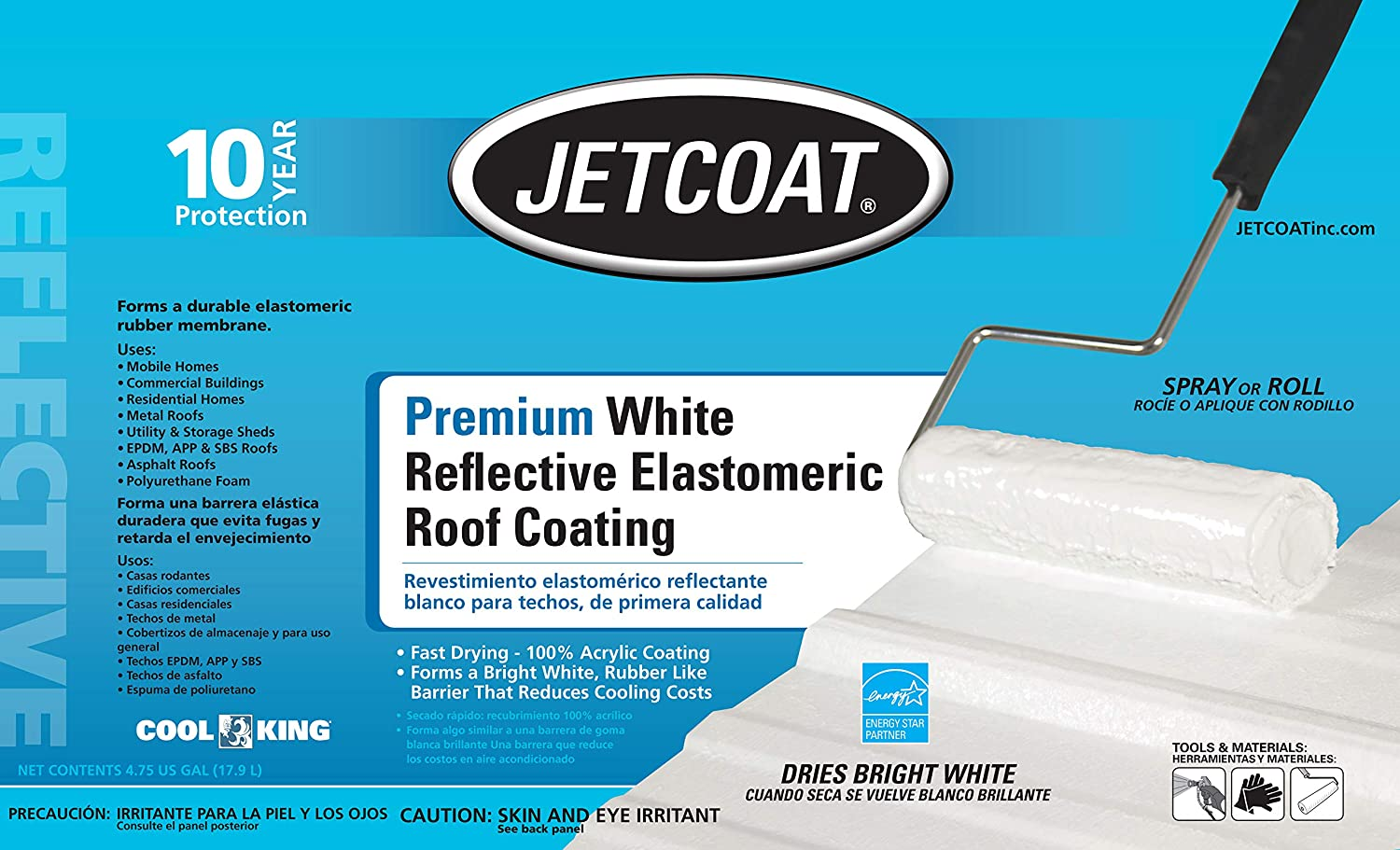 Jetcoat Cool King Elastomeric Acrylic Reflective Roof Coating, White, 5 Gallon, 10 Year Protection - - Amazon.com