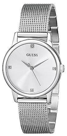 f281c9b906f4 Amazon.com  GUESS Silver-Tone Sophisticated Diamond Watch  Guess ...