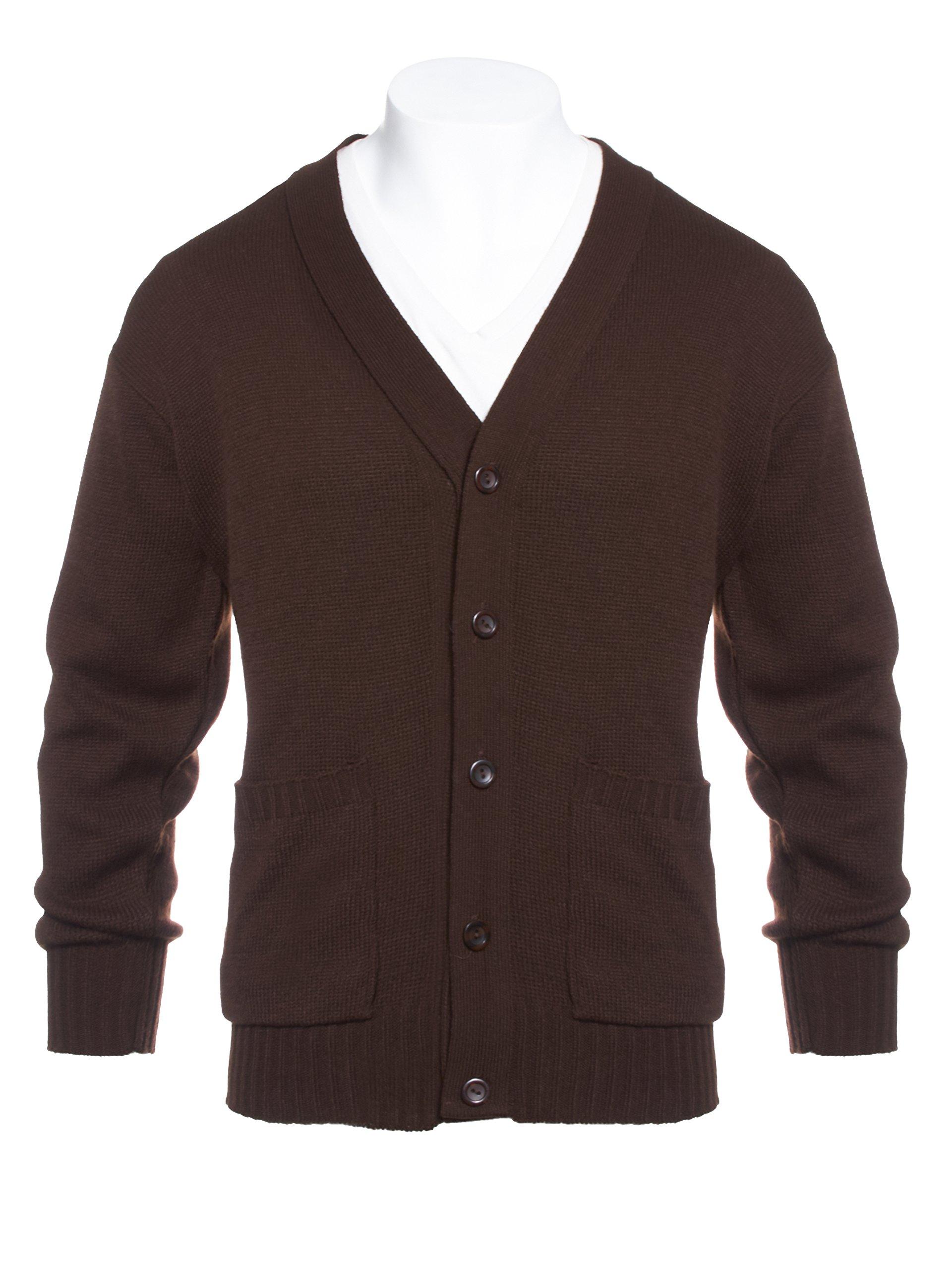 Knit Minded Mens Flat Knit Two Pocket Cardigan Brown XL