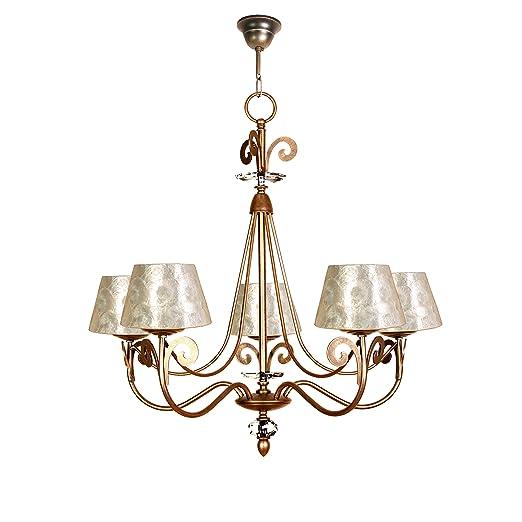 Lámpara de techo de 5 luces acabado cuero con pantalla con ...
