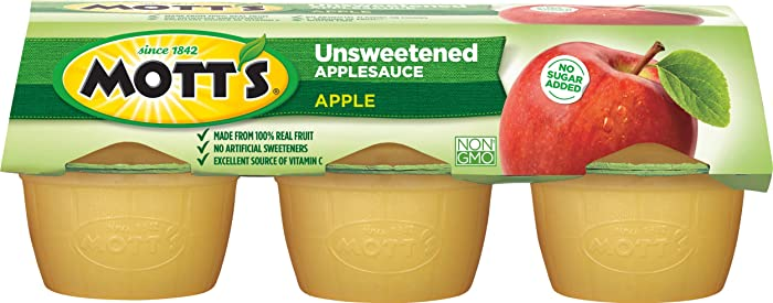 Mott's Unsweetened Applesauce, 3.9 Ounce Cup, 6 Count