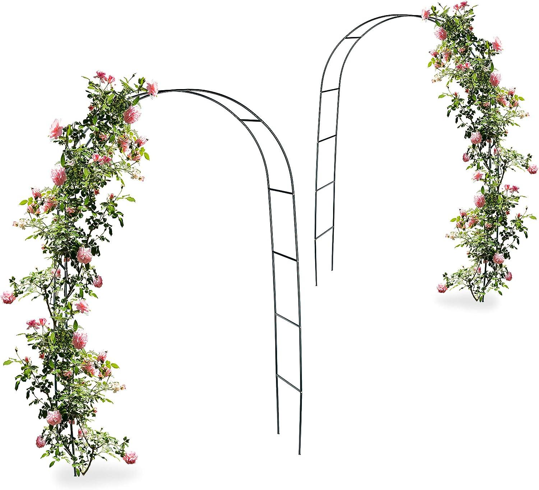 2 x arco, pérgola trepadoras, rosas, Rose Tor metal, resistente a la intemperie, HBT: 240 x 140 x 38 cm, color verde oscuro: Amazon.es: Jardín