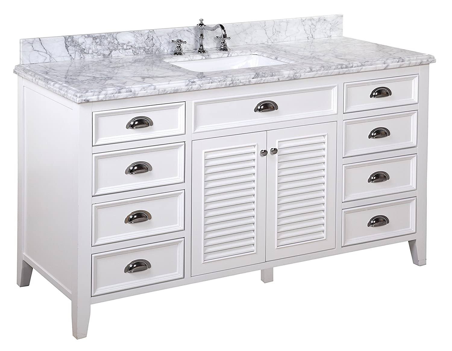 Kitchen Bath Collection KBC SH601WTCARR S Savannah Single Sink Bathroom  Vanity With Marble Countertop, Cabinet With Soft Close Function And  Undermount ...