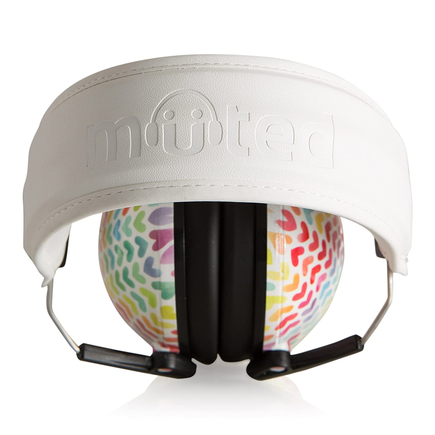 Muted Designer Hearing Protection For Infants /& Kids Rainbow Hearts Adjustable Childrens Ear Muffs from Toddler to Teen