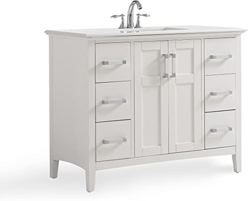 Simpli Home Winston 42 inch Contemporary Bath Vanity in Soft White with Bombay White Engineered Quartz Marble Extra Thick Top