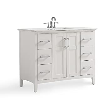 Simpli Home Winston Wh 42 Winston 42 Inch Bath Vanity In Soft White