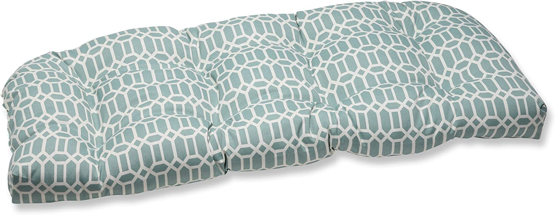 "Pillow Perfect Outdoor/Indoor Rhodes Quartz Tufted Loveseat Cushion, 44"" x 19"", Blue"