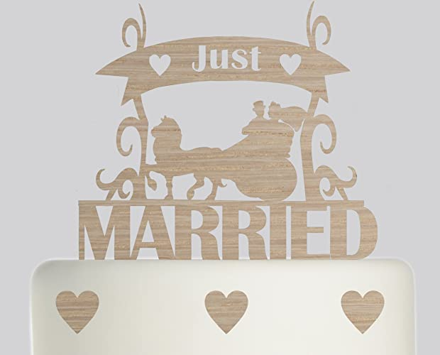 Just Married Horse And Carriage Bride And Groom Wooden