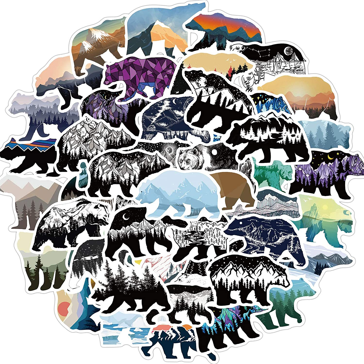 MSOLE 50PCS Grizzly Bear Stickers for Water Bottles Laptop HydroFlasks Aesthetic Decals for Mac Computer Phone Guitar Skateboard