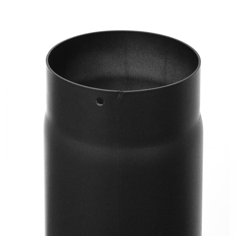 raik SH036-150-sw Rauchrohr Ofenrohr 150mm 1000mm mit Zugregulierung schwarz