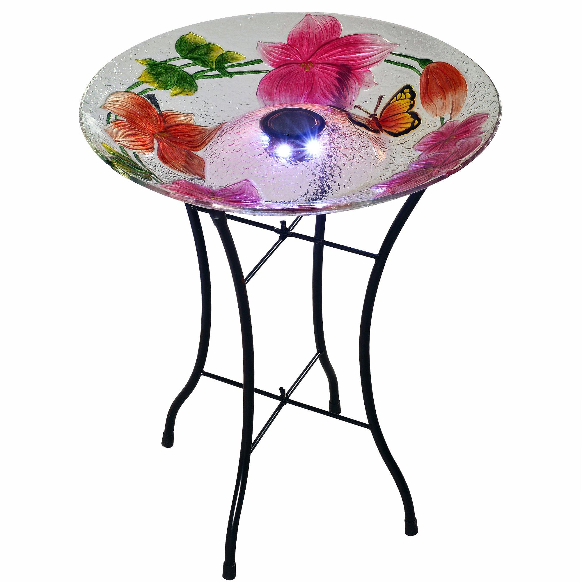 Peaktop 3216980 Outdoor Flower Fusion Glass Solar Bird Baths, 18'' White/Pink